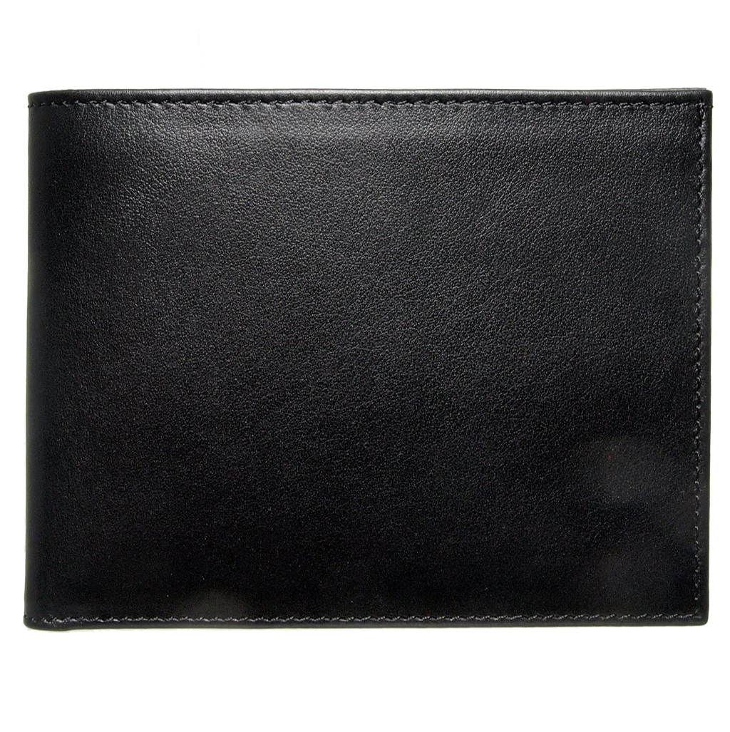 8 CC Buffed Calf Leather Billfold Black-Mens Wallets-72 Smalldive