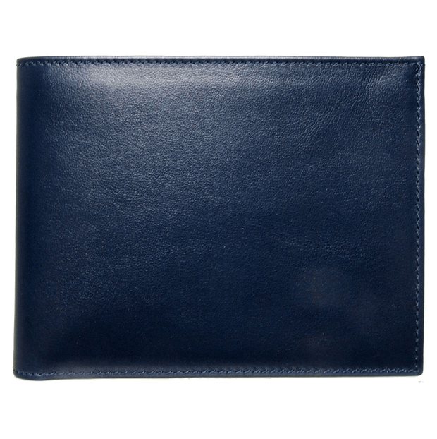 8 Credit Card Buffed Leather Billfold Blue-Mens Wallets-72 Smalldive