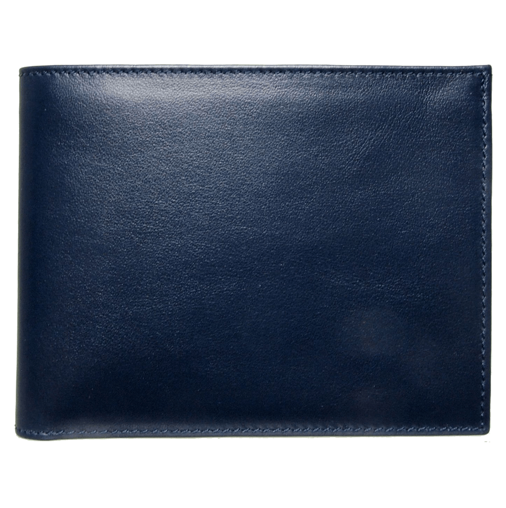 Buffed Calf Leather Billfold Wallet Blue - 72 Smalldive