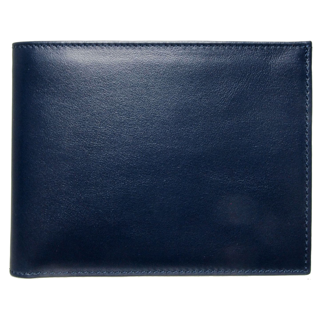 10 CC Buffed Calf Leather Billfold Blue-Mens Wallets-72 Smalldive