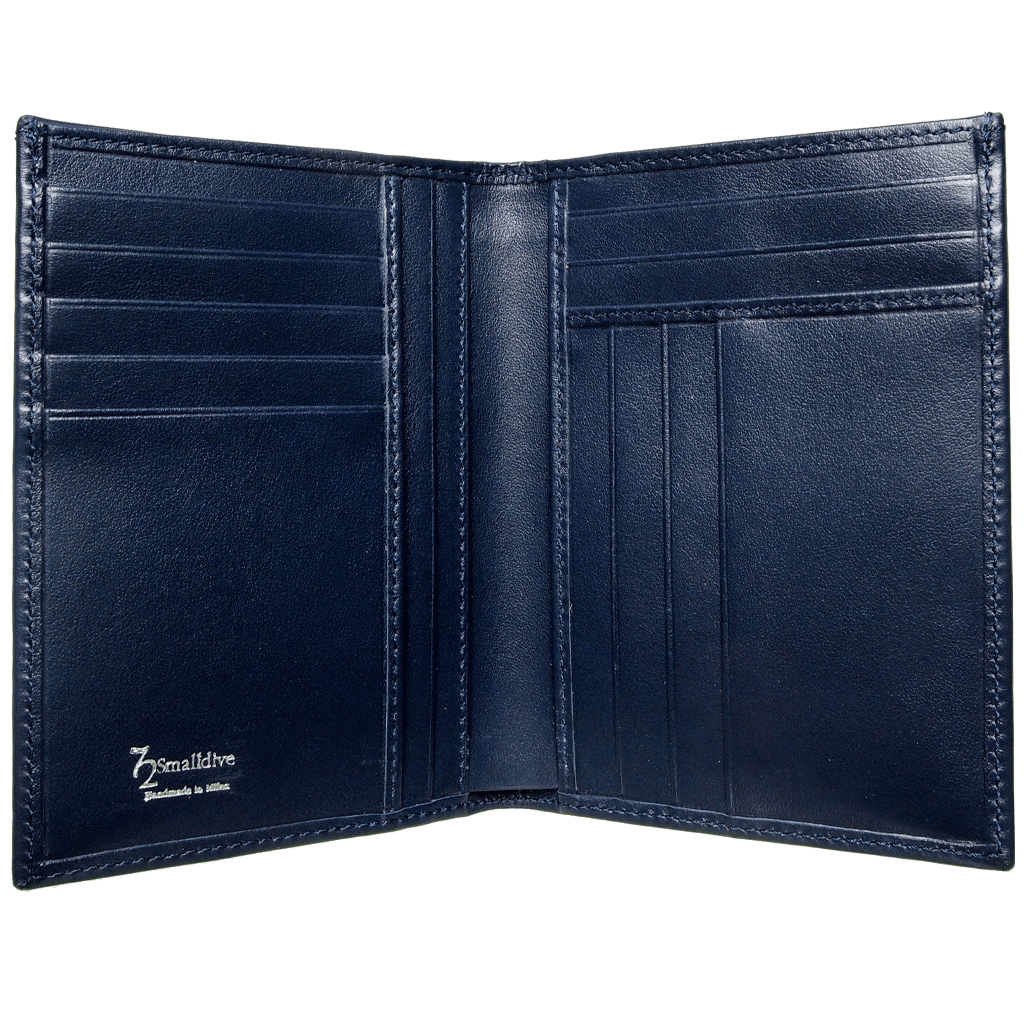 72 Smalldive Mens Wallets 8 Credit Card Pocket Buffed Leather Billfold Blue.