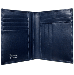 8 Credit Card Pocket Buffed Leather Billfold Blue-Mens Wallets-72 Smalldive