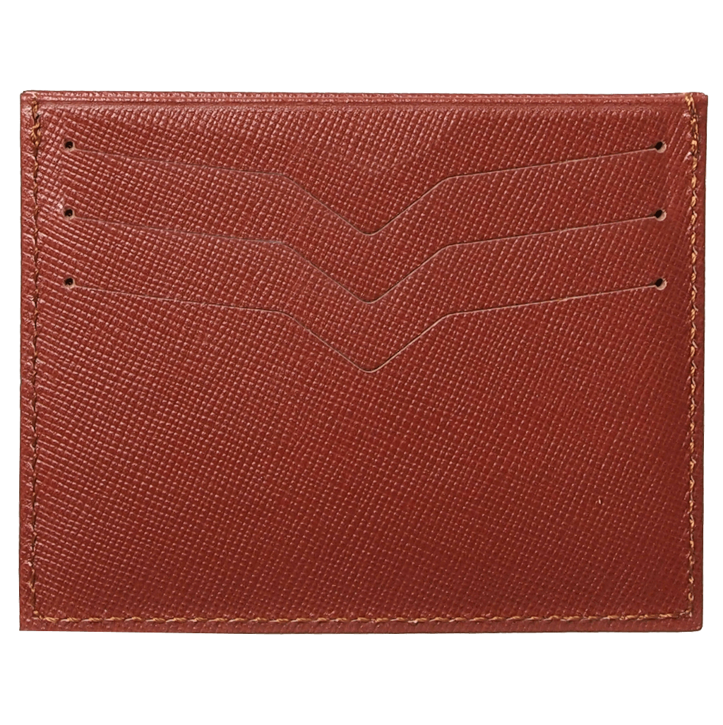 Saffiano Credit Card Wallet Brown-Unisex Wallets-72 Smalldive
