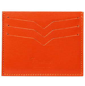 Saffiano Credit Card Wallet Orange-Unisex Wallets-72 Smalldive