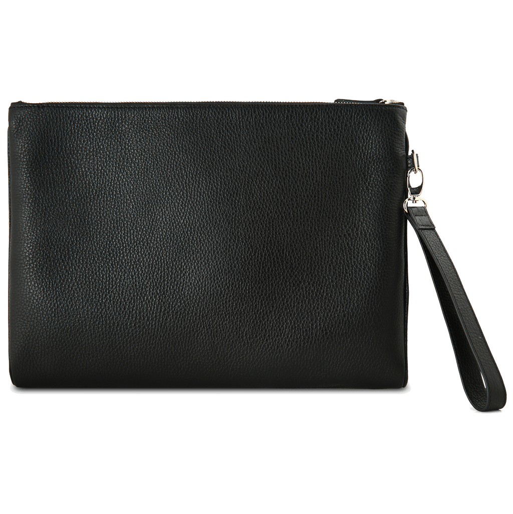 Pebbled Grain Calf Leather Duo Folio Black - 72 Smalldive