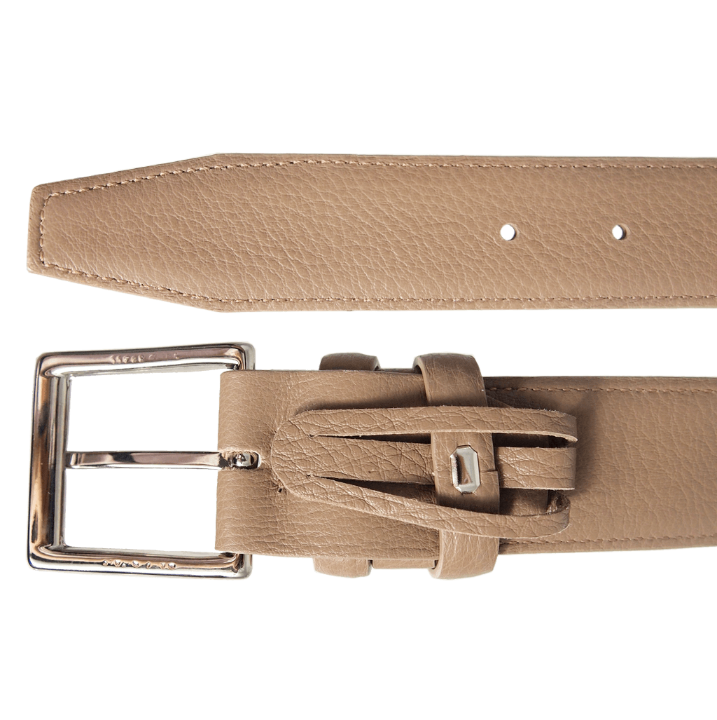34mm Duo Ply Calf Leather Belt Taupe-Mens Belts-72 Smalldive