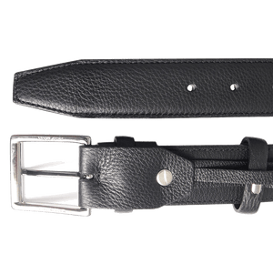 34 mm Duo Ply Leather Belt Black-Mens Belts-72 Smalldive