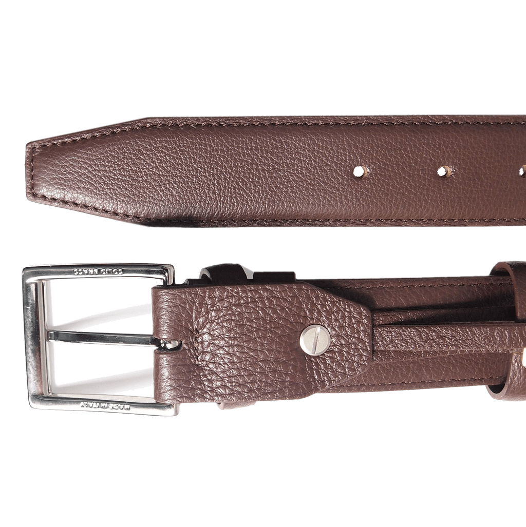 34 mm Duo Ply Leather Belt Brown-Mens Belts-72 Smalldive