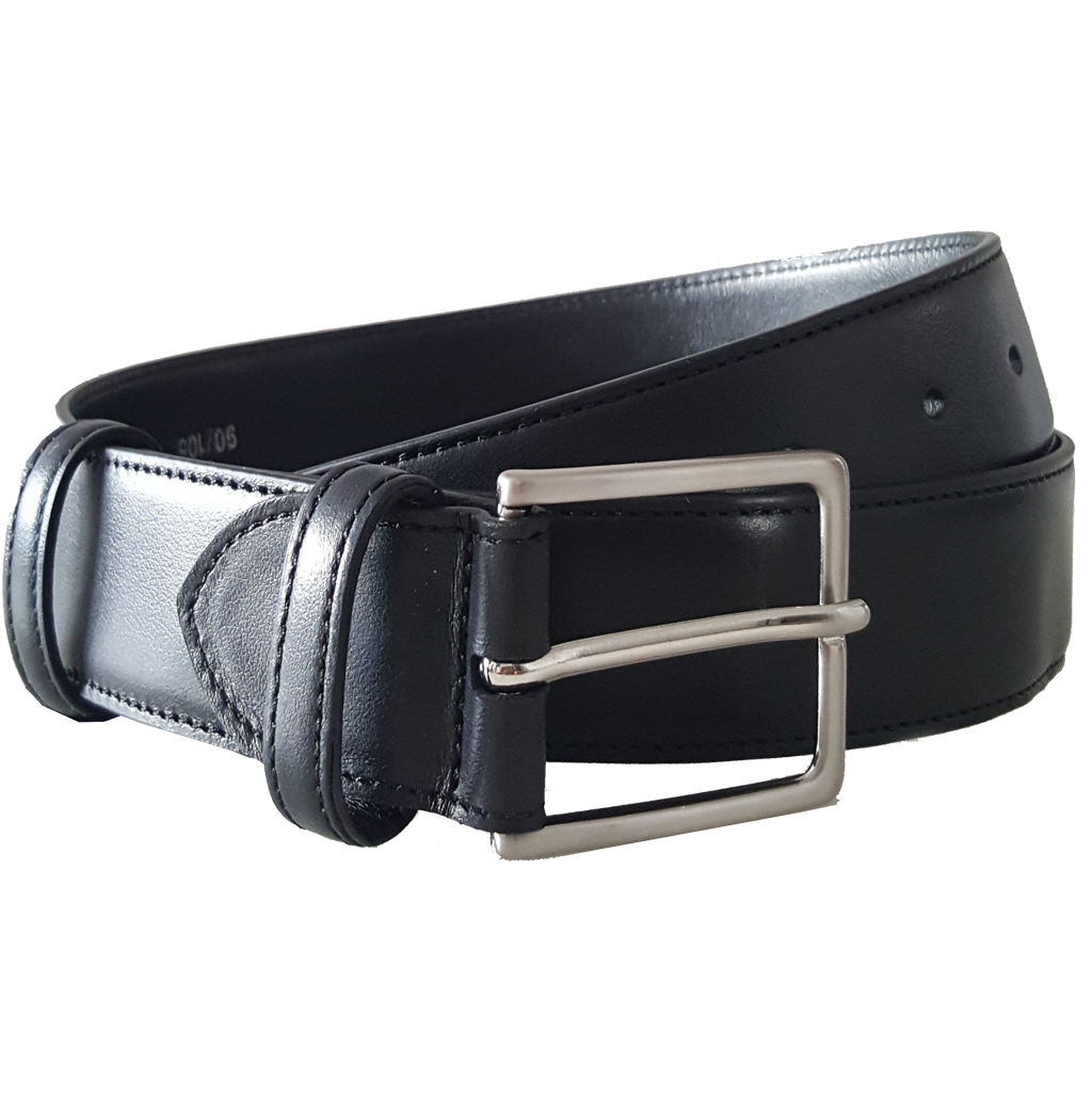 34mm Duo Ply Buffed Leather Belt Black-Mens Belts-72 Smalldive
