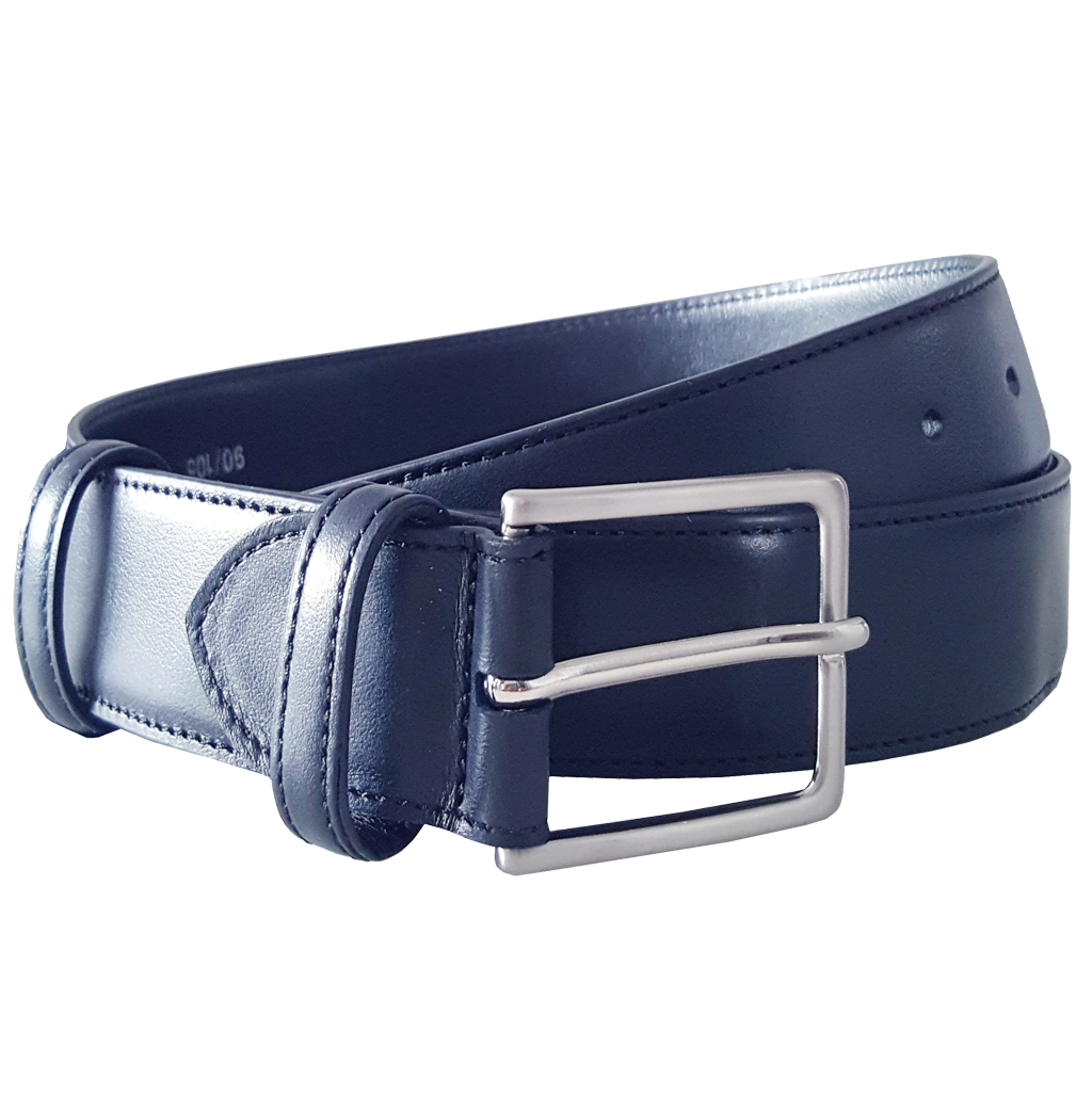 34 mm Duo Ply Buffed Leather Belt Blue-Mens Belts-72 Smalldive