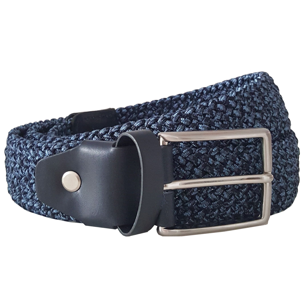 34 mm Leather Trimmed Elastic Cotton Belt Blue-Mens Belts-72 Smalldive
