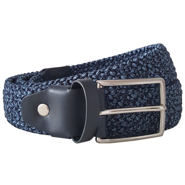 34mm Cotton Elastic Belt Blue-Mens Belts-72 Smalldive