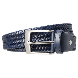 34 mm Fine Weave Leather Belt Navy-Mens Belts-72 Smalldive