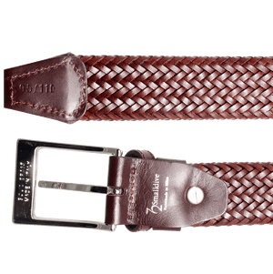 34 mm Fine Tubular Weave Belt Brown-Mens Belts-72 Smalldive