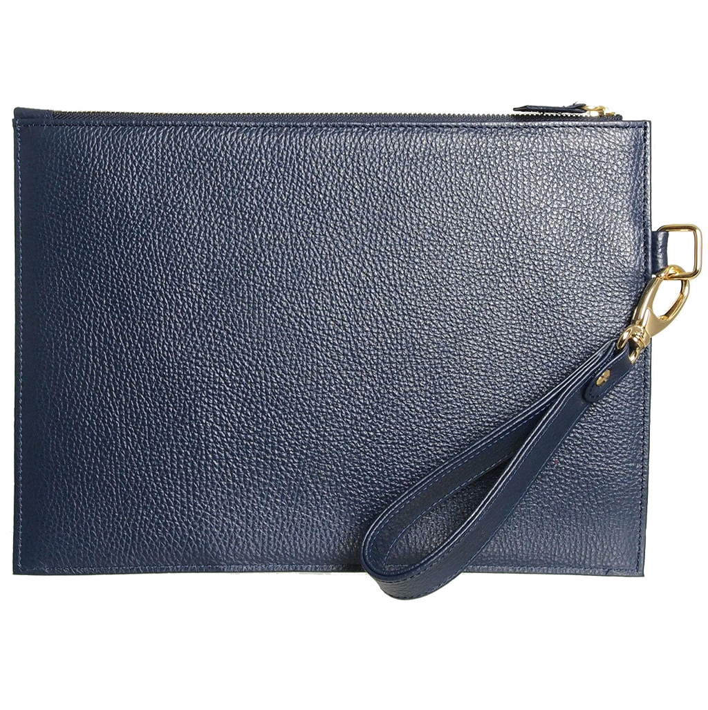Grained Leather Folio Navy-Folio & Clutches-72 Smalldive