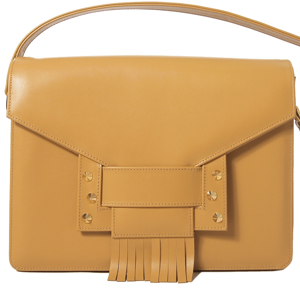 Fringed Clasp Calf Leather Shoulder Handbag Camel-Handbag-72 Smalldive