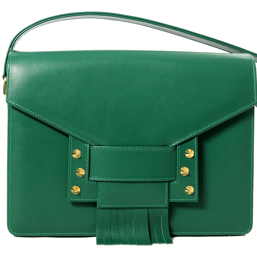 Fringed Clasp Calf Leather Shoulder Handbag Emerald-Handbag-72 Smalldive