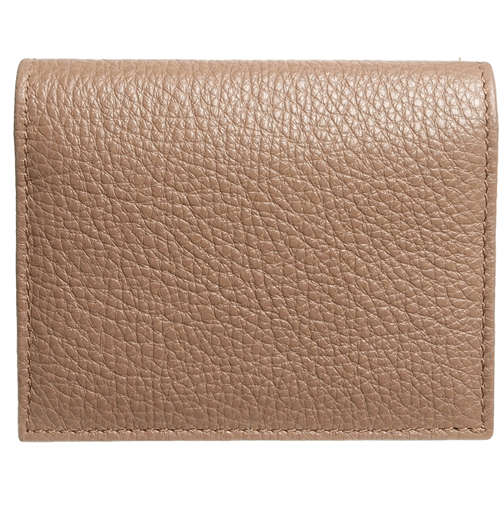 Grained Calf Leather Card Wallet Taupe-Unisex Wallets-72 Smalldive