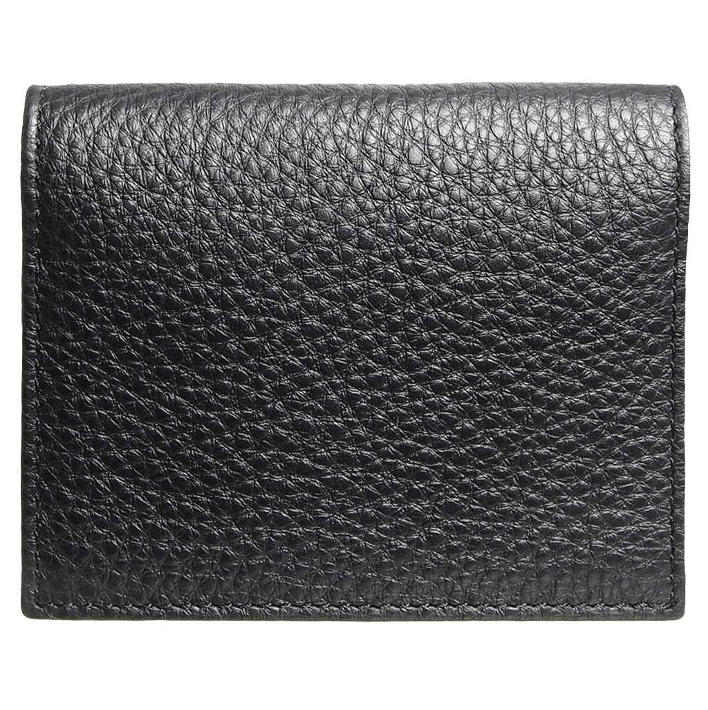 Pebbled Calf Leather Card Wallet Black-Unisex Wallets-72 Smalldive