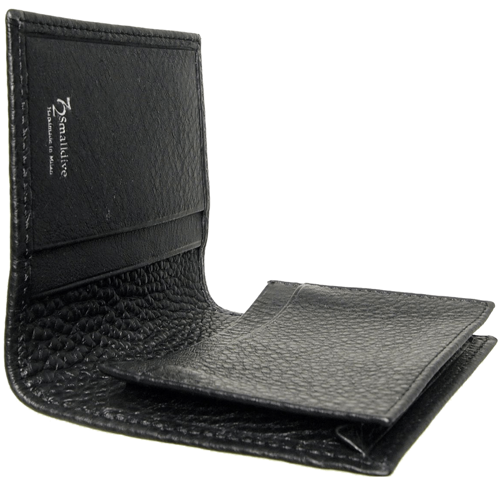 Pebbled Calf Leather Card Wallet Black - 72 Smalldive