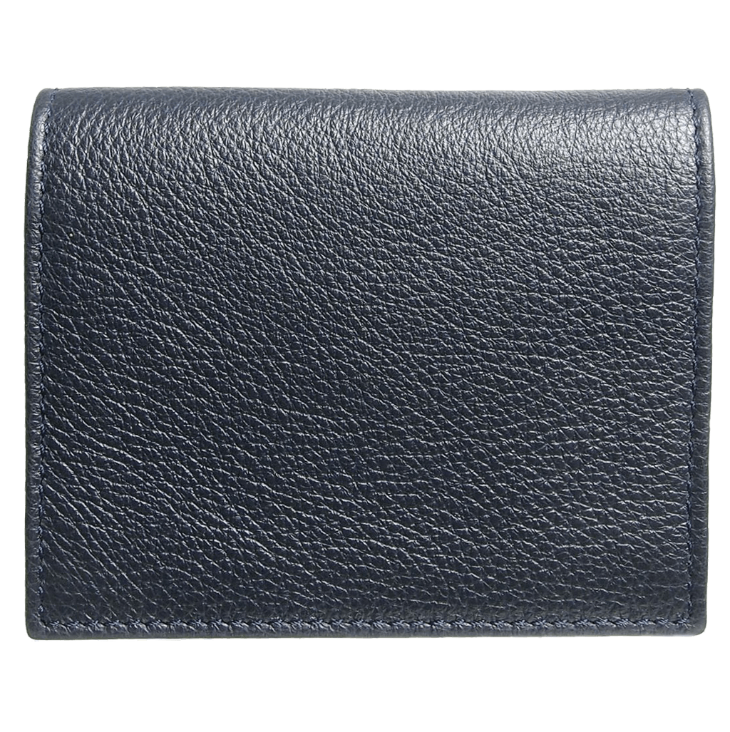 Pebbled Calf Leather Card Wallet Blue - 72 Smalldive