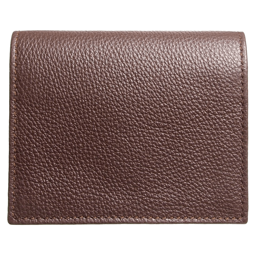 Pebbled Calf Leather Card Wallet Brown - 72 Smalldive