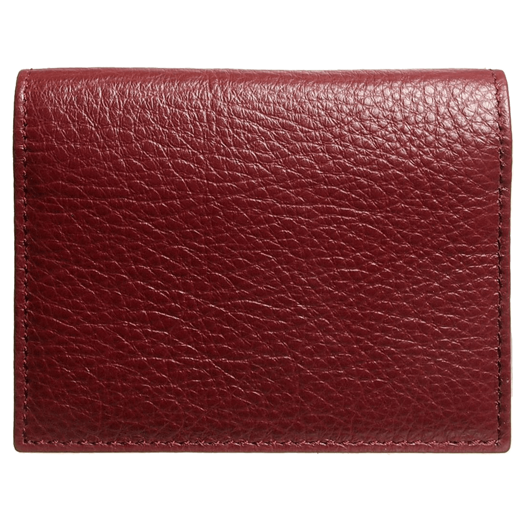 Grained Calf Leather Card Wallet Rosewood-Unisex Wallets-72 Smalldive