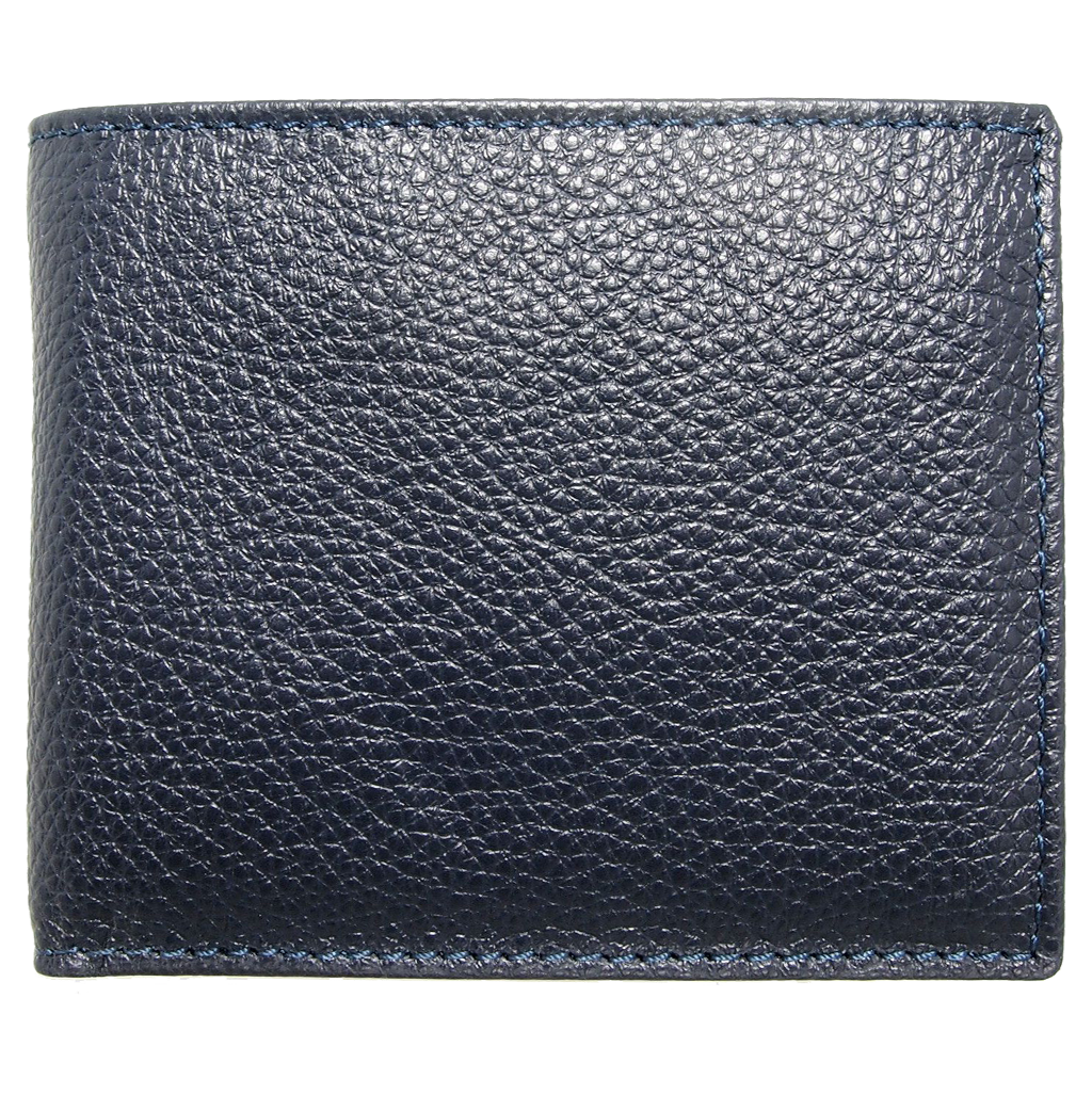 Pebbled Leather Billfold With Coin Pocket Blue-Mens Wallets-72 Smalldive