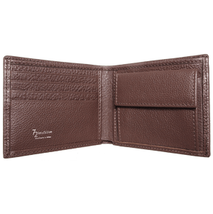 Pebbled Leather Billfold With Coin Pocket Brown-Mens Wallets-72 Smalldive