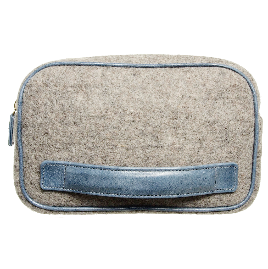 Wool Felt Dopp Kit Grey-Minis & Pouches-72 Smalldive