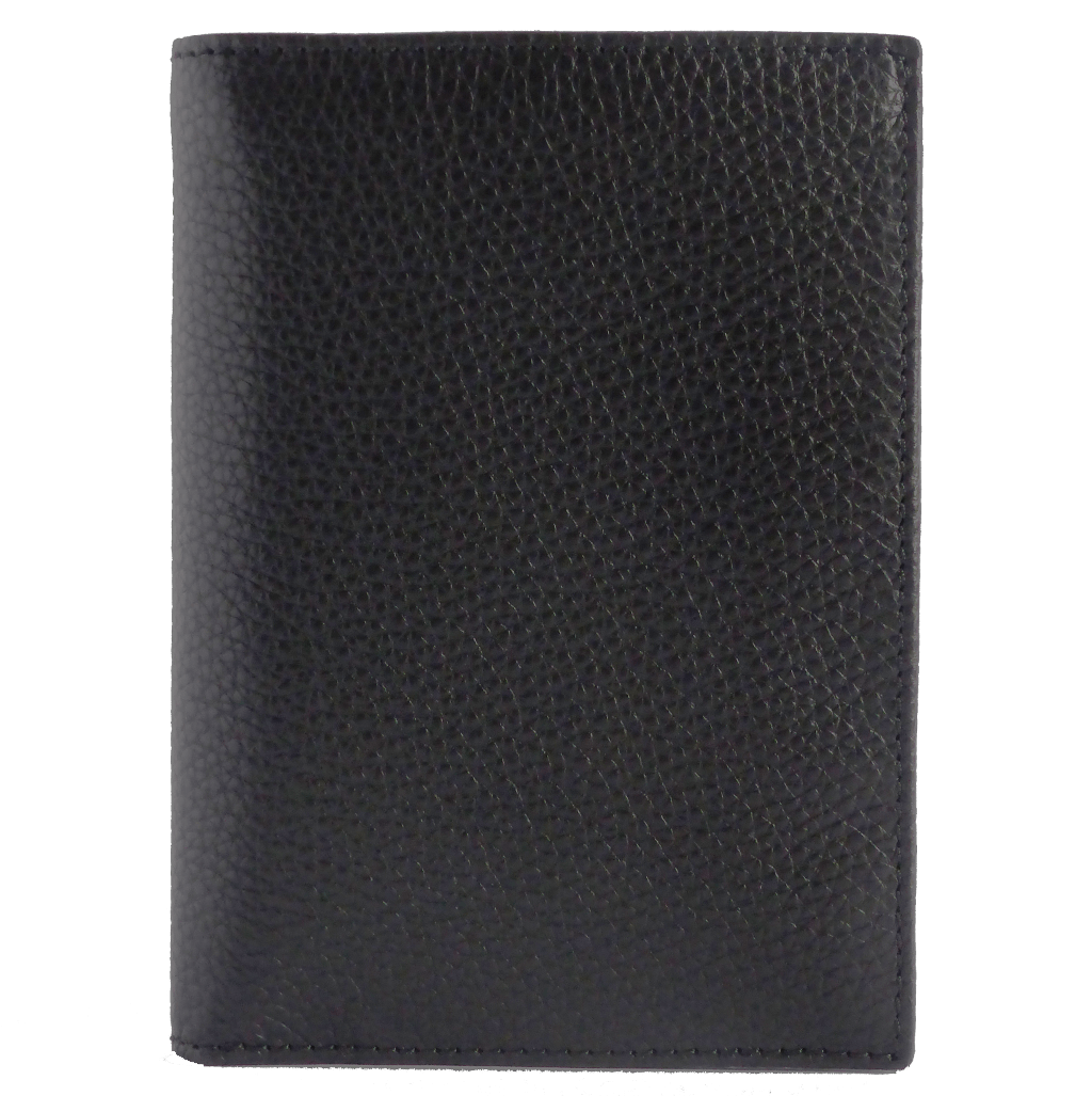 Pebbled Calf Leather Pocket Billfold Wallet Black - 72 Smalldive