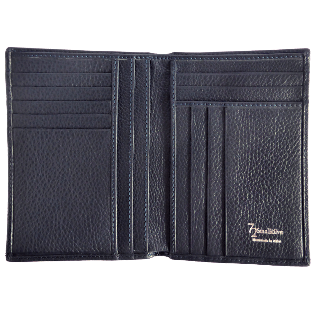 Pebbled Calf Leather Pocket Billfold Wallet Blue - 72 Smalldive