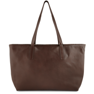 Reversible Buffed Calf Leather Horizontal Tote Brown-Bags-72 Smalldive