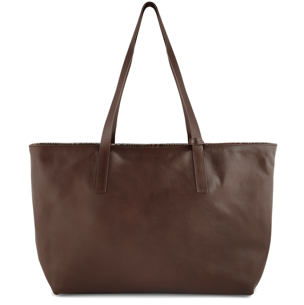 Reversible Buffed Calf Leather Horizontal Tote Brown-Unisex Bags-72 Smalldive