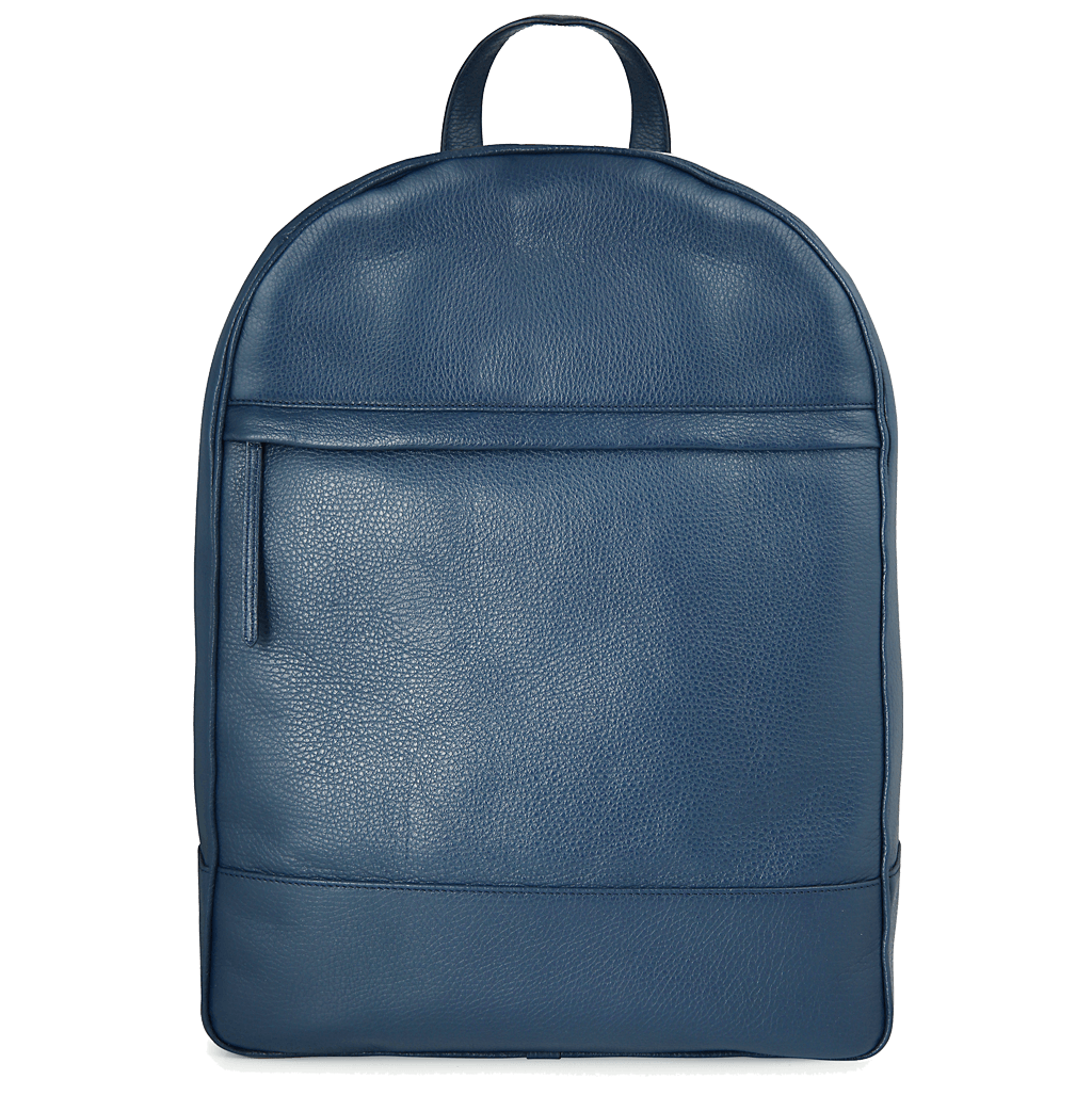 Grained Calf Leather Rucksack Blue-Backpack-72 Smalldive