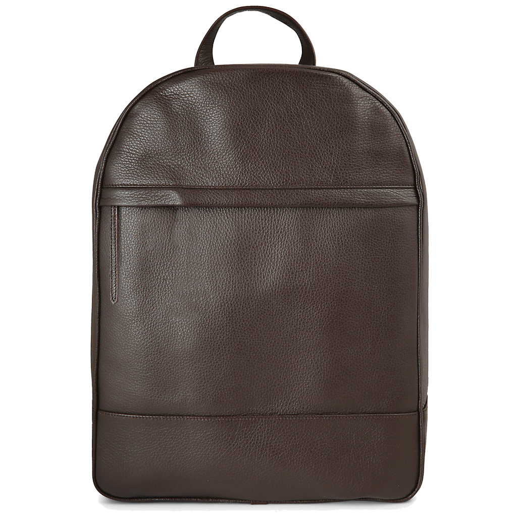 Pebbled Grain Calf Leather Rucksack Brown - 72 Smalldive