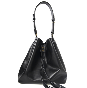 Large Buffed Calf Leather Bucket Tote Black-Handbag-72 Smalldive