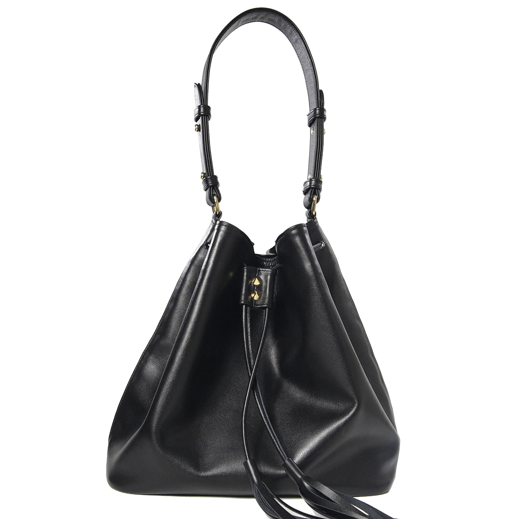 Large Buffed Calf Leather Bucket Tote Black - 72 Smalldive