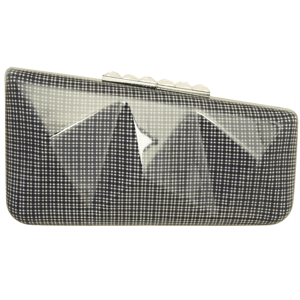 72 Smalldive Clutches Minaudière in Blue Gingham Plaid.