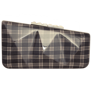 72 Smalldive Clutches Minaudière in Navy Glen Plaid.