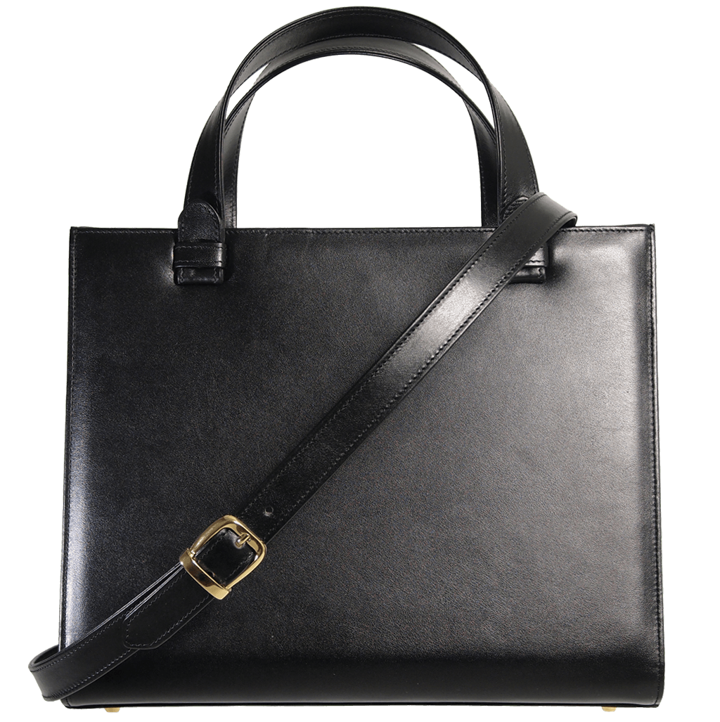 Large Buffed Calf Leather Tote Black-Briefcase & Totes-72 Smalldive