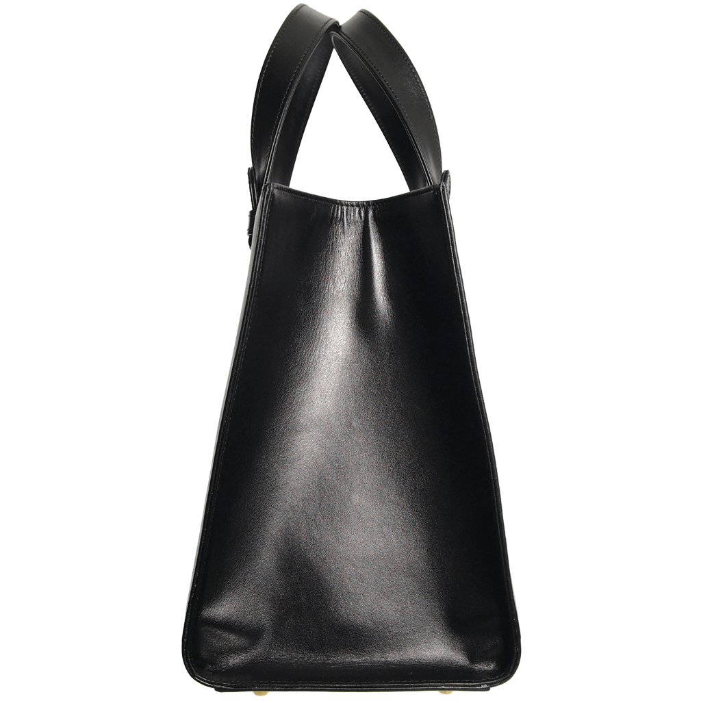 Large Buffed Calf Leather Tote Black - 72 Smalldive
