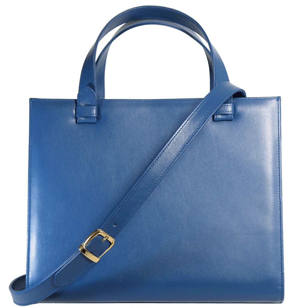 Large Buffed Calf Leather Tote Blue - 72 Smalldive