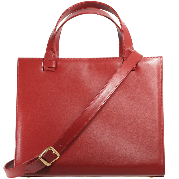 Large Buffed Calf Leather Tote Ruby - 72 Smalldive