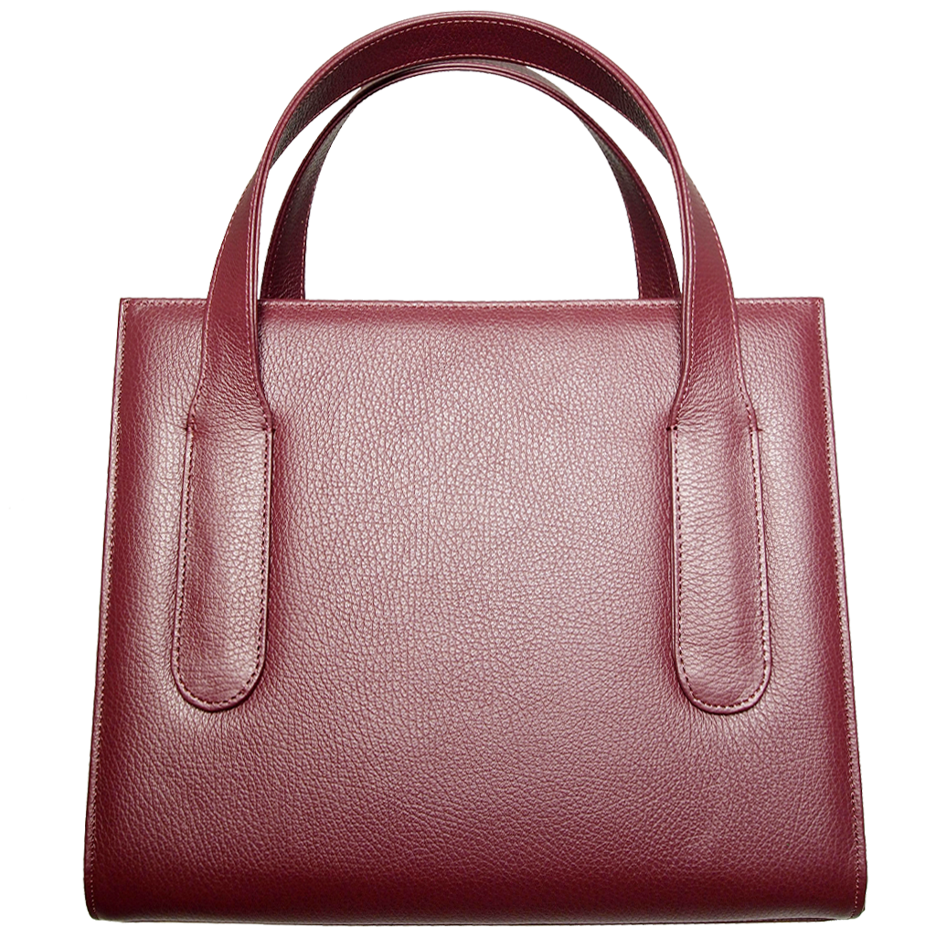 Large Pebbled Calf Leather Tote Bordeaux-Handbag-72 Smalldive