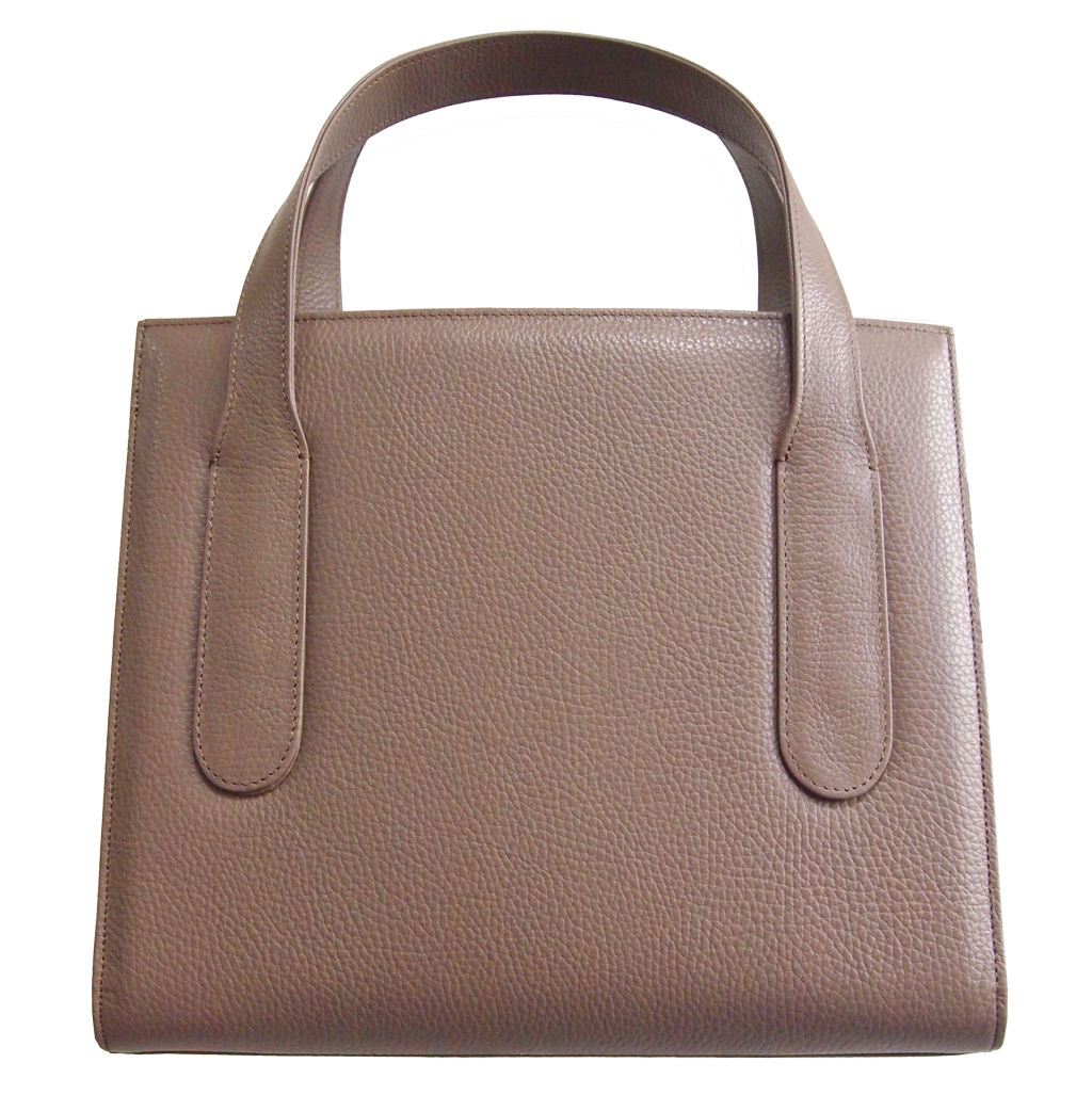 Large Pebbled Calf Leather Tote Taupe-Handbag-72 Smalldive