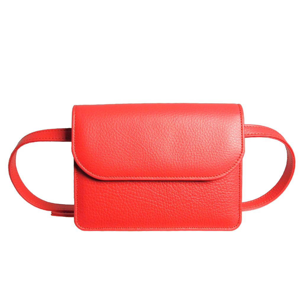 72 Smalldive Minis & Pouches Pebbled Calf Leather Belt Pouch Coral.