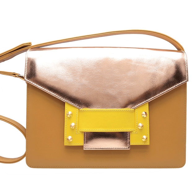 Metallic Shoulder Handbag Camel Sun - 72 Smalldive