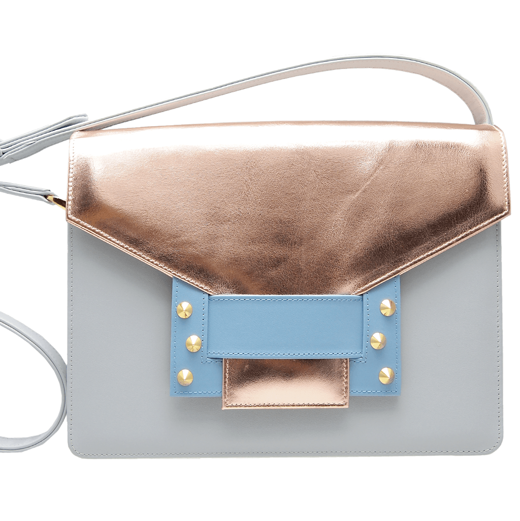 Metallic Shoulder Handbag Pumice Sky-Handbag-72 Smalldive