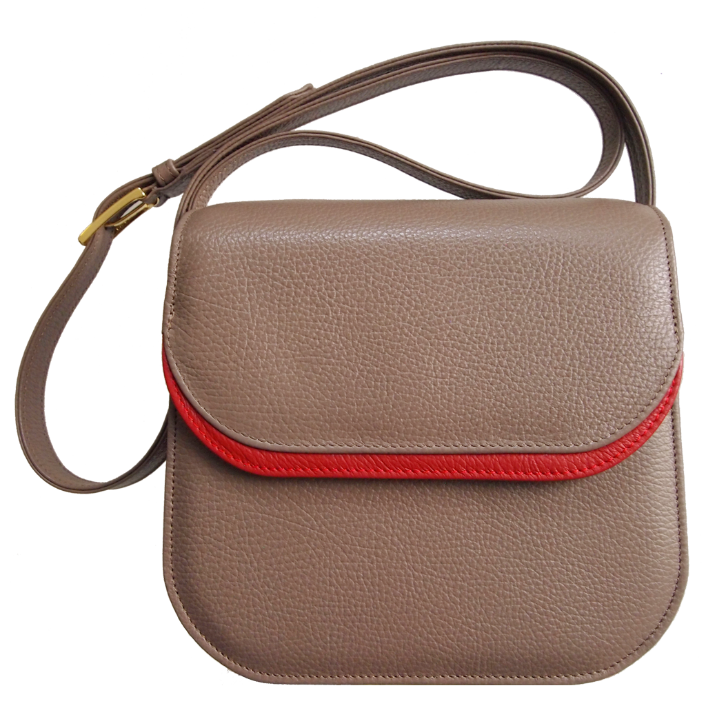 Midi Shoulder Bag Taupe-Red-Handbag-72 Smalldive